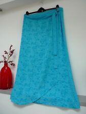 Ladies Lovely M&S Turquoise Mix Floral Full Length Wrap Over Tie Skirt 18,Vgc