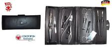 Dovo (Solingen ):set manicure in vitello 8pezzi. con 2 forbici e 2 tronch.INOX -