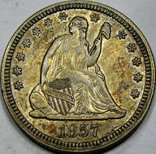 1857 Seated Liberty Quarter Dollar Choice AU+++... So Flashy, Nice, & Original!!