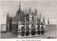 Milano: il Duomo. Lombardia. Stampa Antica + Passepartout. 1894