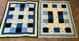 "Crib or Baby Quilt, handmade, patchwork cotton twin set bees bears 26.5"" X 24.5"""
