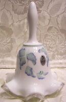 """1999 Fenton Glass Handpainted"""" Morning Mist"""" on Silvercrest 6 1/2"""" Bell"""
