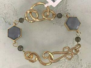 Stephanie Kantis Designer 24K Gold Plate Blue Agate Nobility Chain Bracelet