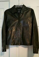 Nautica Size L Black Leather Jacket Women's Zipper Front & Zipper on Cuffs