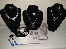 Vintage Lot RHINESTONE Jewelry NECKLACES Brooches Earrings Ring 20PC Exquisite