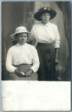 AMERICAN INDIAN 2 SISTERS ANTIQUE REAL PHOTO POSTCARD RPPC