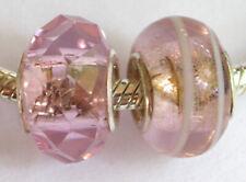 2 x Beads *** AUS ECHTEM SILBER und Glasperle pink rosa