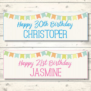 2 PERSONALISED BIRTHDAY CELEBRATION BANNERS  - ANY NAME - ANY AGE