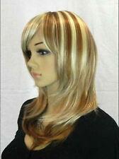 New lady women long Vogue Blonde Fashion Wavy hair Wig +wig cap