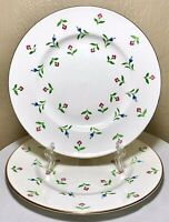 2 Royal Victoria Fine Bone China England Pink Blue Green Gold Floral Plates 8.5""