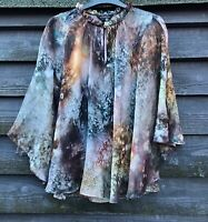 Ted Baker Beautiful Sheer Floral Poncho-Style Blouse, Attached Camisole Size 2