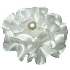 Barrette pince à cheveux coiffure mariage  fleur froufrou satin blanche perle