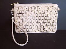Expressions NYC Nude Beaded Laser Cut Wristlet Clutch Purse Bag NWT  TL