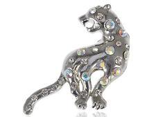 Shiny Silver Tone Clear Rhinestone Gems Leopard Cheetah Cat Cub Pin Brooch Gift