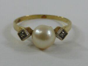 Alter Goldring Damenring Steinbesatz Perle 585er Gold Punze HD