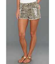 MINK PINK Runaway Leopard Denim High waisted DISTRESSED SHORTS Size SMALL