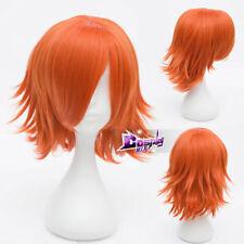 35cm Men Women Orange Short Hair Daily Party Anime Party Cosplay Wig +Wig Cap