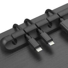 Black Silicone USB Cable Winder Desktop Holder Clip Cable Management Organizer
