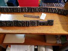 Antique Letterpress Printers WOOD TYPE Mix 30 Pieces Letters & Numbers + plaque
