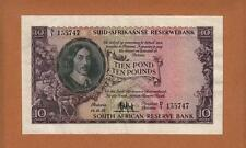 South Africa 1952 Ten Pounds MH De Kock EF-AU Large Banknote