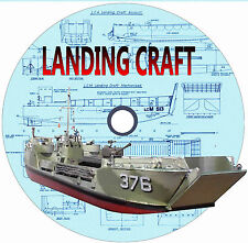 "Model Boat Plans 4 Scale Landing Craft 19"" LCM 46 1/2"" LCT 46 1/2""LCF Drawings"