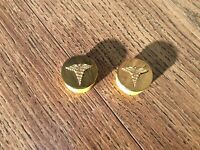 Vintage Brass Caduceus Medical Military Pin Lot Of 2 Pins Collar Or Lapel A7