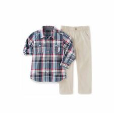 Tommy Hilfiger Shirt and Pant Set Size 6 to 9 Months 2 Piece in Plaid & Tan NEW