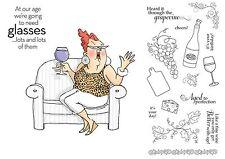 Art Impressions People Stamps - Celeste Set - Wine, Drinking, Glasses, Age