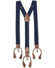 $96 New Club Room Men'S Blue Solid Elastic Stretch Metal Clip-On End Suspenders
