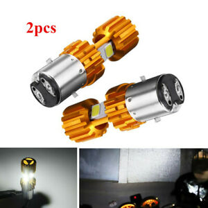 2xBA20D COB LED Light Bulb Hi/Lo Car Motorcycle Headlight Fog Lamp Long Lifespin