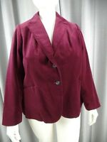 Lane Bryant Womens 20 Burgundy 100% Cotton Velvet Long Sleeve Blazer Jacket