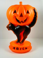 Vintage Union Products Halloween Trick or Treat Black Cat Pumpkin Blow Mold