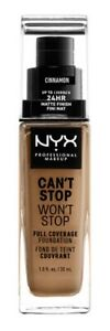 NYX Can't Stop Won't Stop Full Coverage Foundation-CSWSF15.5 Cinnamon 30ml/1oz