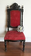 Antique French Chair Napoleon III Style Oak Parlour Fireside Chauffeuse * HH158