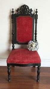 Antique French Chair Napoleon III Style Oak Parlour Fireside Chauffeuse - HH158