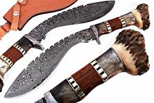 DAMASCUS STEEL BLADE KUKRI KNIFE HUNTING KNIFE,BONE & CROWN STAG HORN HANDLE