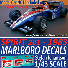 Formula 1 Car Collection Marlboro DECALS for the SPIRIT 201 1983 1/43 scale car