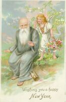 NEW YEAR – Angel and Old Man Tuck Postcard