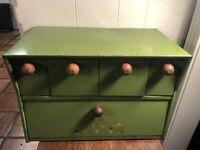 Vintage KRESTLINE Green Metal Breadbox/Drawer Canisters SPEKO Products Wood Knob