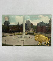 Old Vintage 1908 Postcard of McKinley Monument Buffalo NY With Brass Buffalo Pin