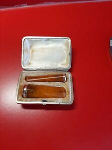 Fume cigare et cigarette ambre, argent et or vermeil