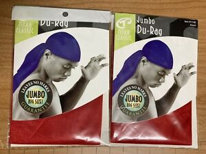 ONE PACK RED  JUMBO BIG SIZE DU-RAG ULTRA STRETCH FITS ALL SIZE EXTRA LONG TAIL