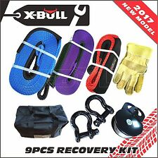 X-BULL  4X4 Winch Recovery Kit Snatch Straps Bow Shackles Pulley Block 4WD