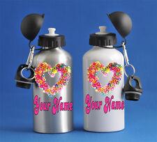 Loom Bands Heart  Kids Girls Water Sports Bottle Silver Or White School PE Gym