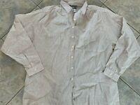Lacoste Womens 40 Size 8 Brown Stripe Button Front Sheer Shirt Blouse Top Linen