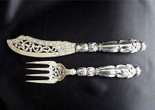 1874 Birmingham Sterling Silver Engraved Fish Serving Knife & Fork Fish Motif