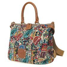 Disney Mickey Mouse Vintage Pattern Patch Men Women Shoulder Bag Casual Tote Bag