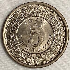 1940 Mexico 5 Centavos Coin ~ Aztec Calendar BU GEM (L719)