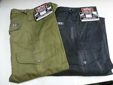 Army Style Combat Trousers - 100% Cotton - Green & Black
