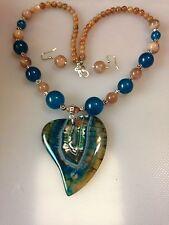 """Dragon Vein Pendant 2"""" Blue Topaz & Sunstone Beads 18"""" Necklace/Earrings"""